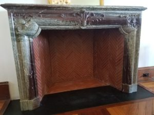 herringbone firebox with marble mantel
